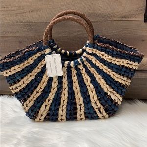 Straw studios natural/navy tote